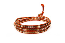 "Wickelarmband Wrap Armband Leder ""Glam Casual Mallorca"" Orange"