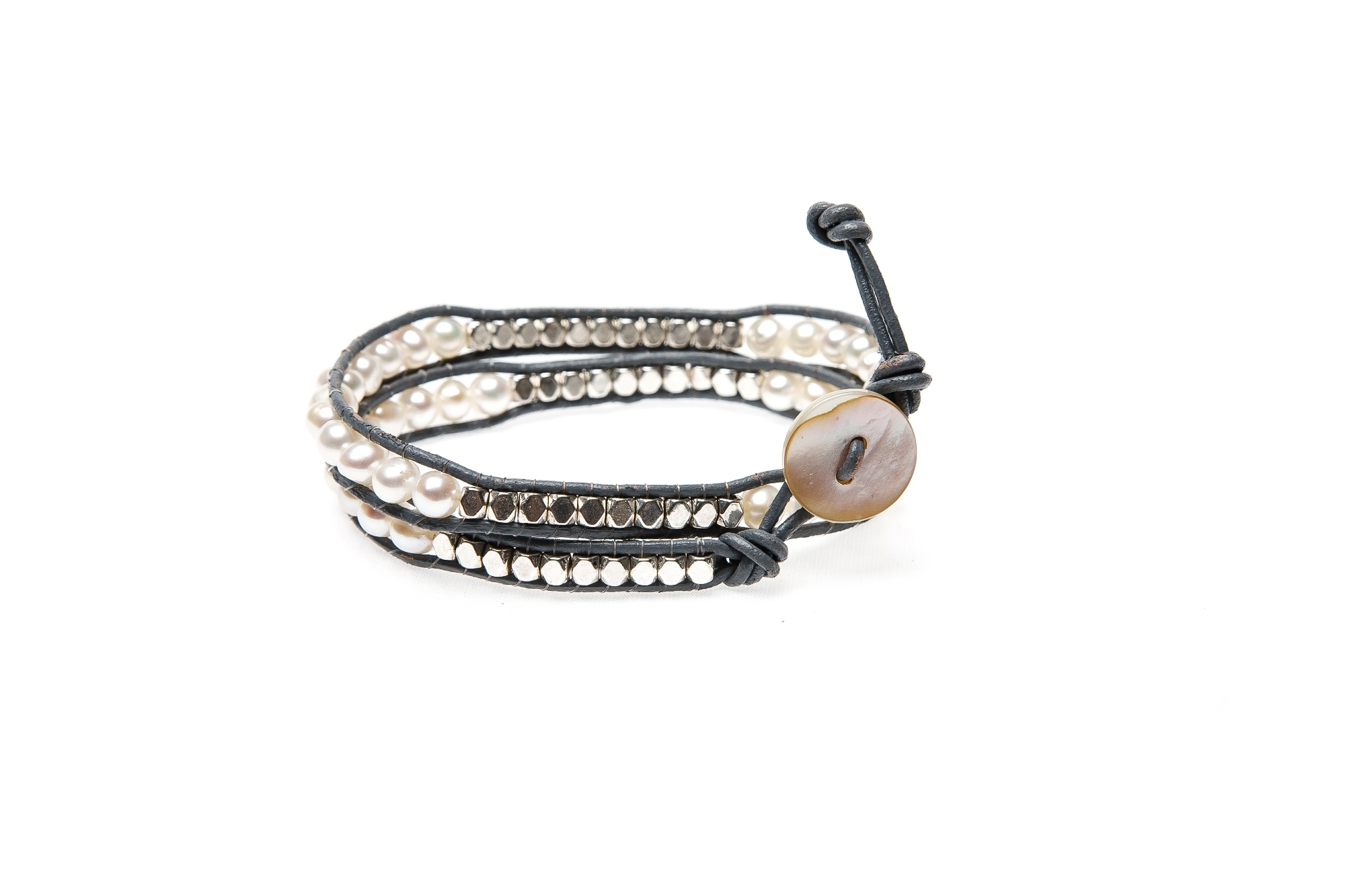 "Wickelarmband Wrap Armband Leder ""Glam Casual Long Beach"" Weiß"