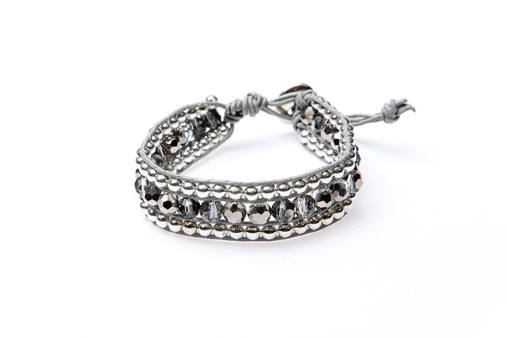 "Wickelarmband Leder ""Glam Casual Paris"" single Silber"