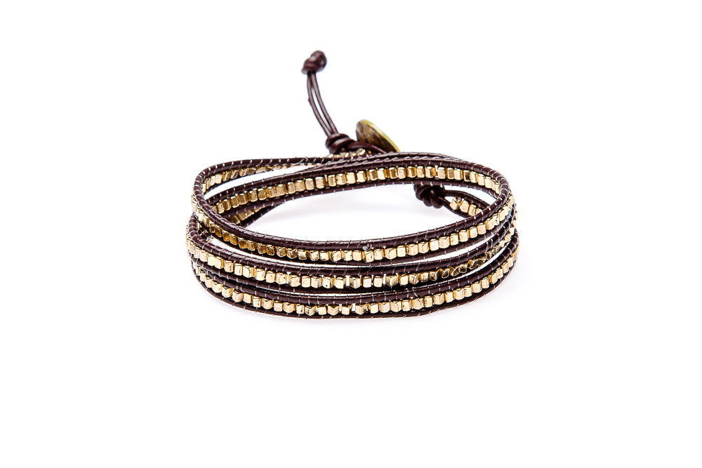 "Wickelarmband Wrap Armband Leder ""Glam Casual Marrakesh"" Gold"