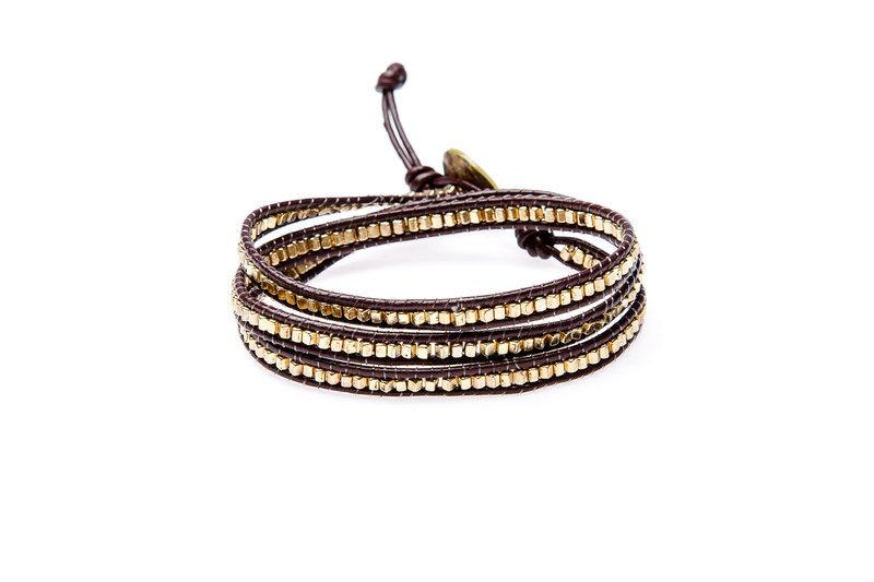 Wickelarmband Wrap Armband Leder Glam Casual Marrakesh Gold Yusimi