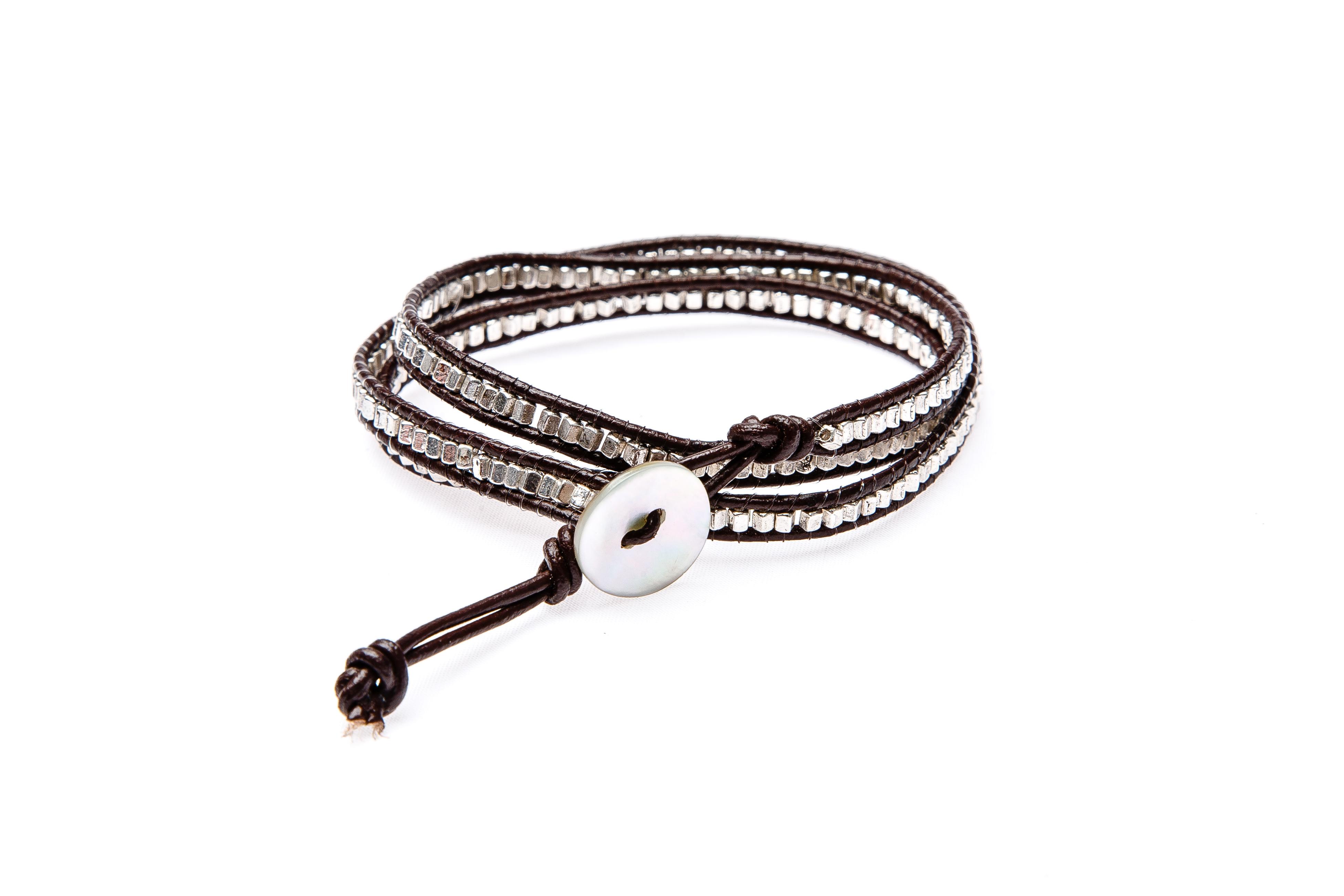 leder silber armband