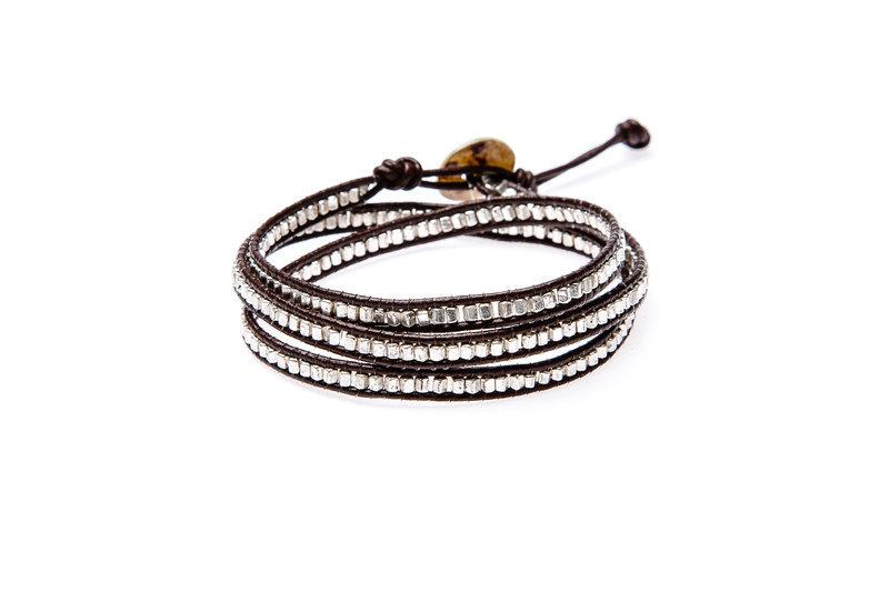 Wickelarmband Wrap Armband Leder Glam Casual Stockholm Silber Yusimi