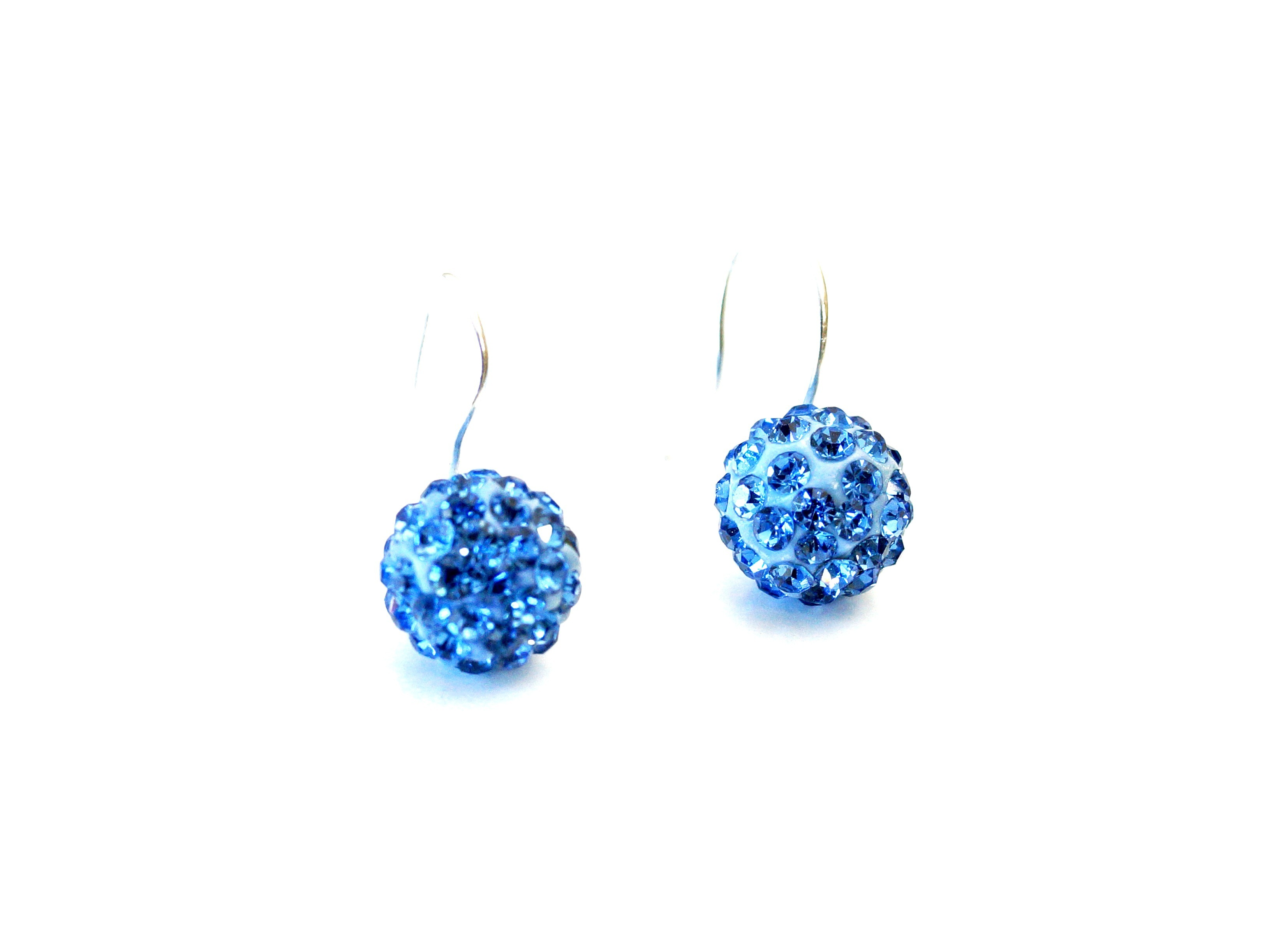 "Ohrring ""Chrystal Ball"" blau"