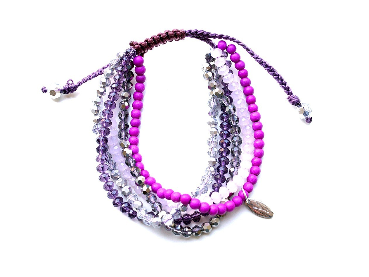 "Armband ""5 Strings Crystal violet"" mit Achat lila"