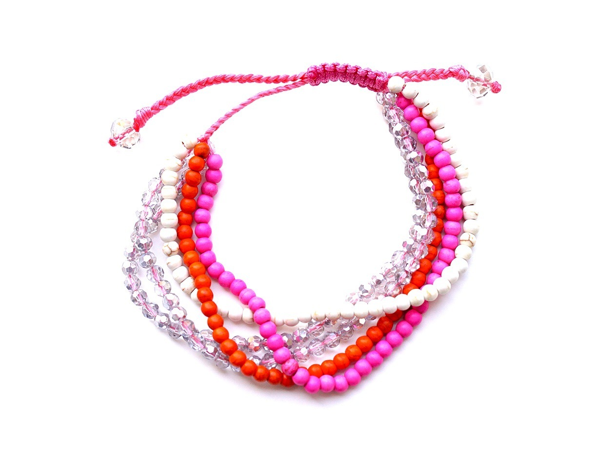 "Armband ""5 Strings Crystal pink"" mit Türkis pink und orange"